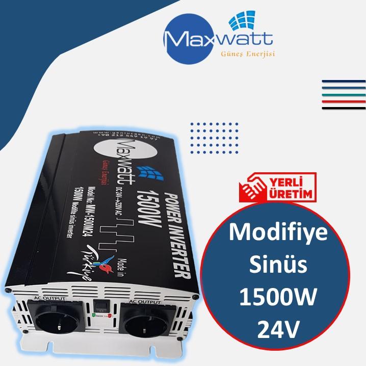 1500W/24V Modifiye sinüs Yerli Üretim Maxwatt İnverter İnvertör
